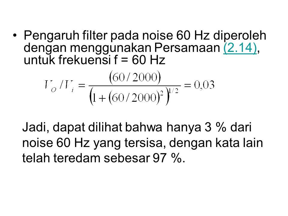 Pengaruh filter pada noise 60 Hz diperoleh dengan menggunakan Persamaan (2.14), untuk frekuensi f = 60 Hz(2.14) Jadi, dapat dilihat bahwa hanya 3 % da