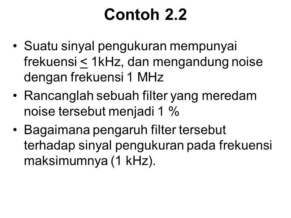 Contoh 2.2 Suatu sinyal pengukuran mempunyai frekuensi < 1kHz, dan mengandung noise dengan frekuensi 1 MHz Rancanglah sebuah filter yang meredam noise