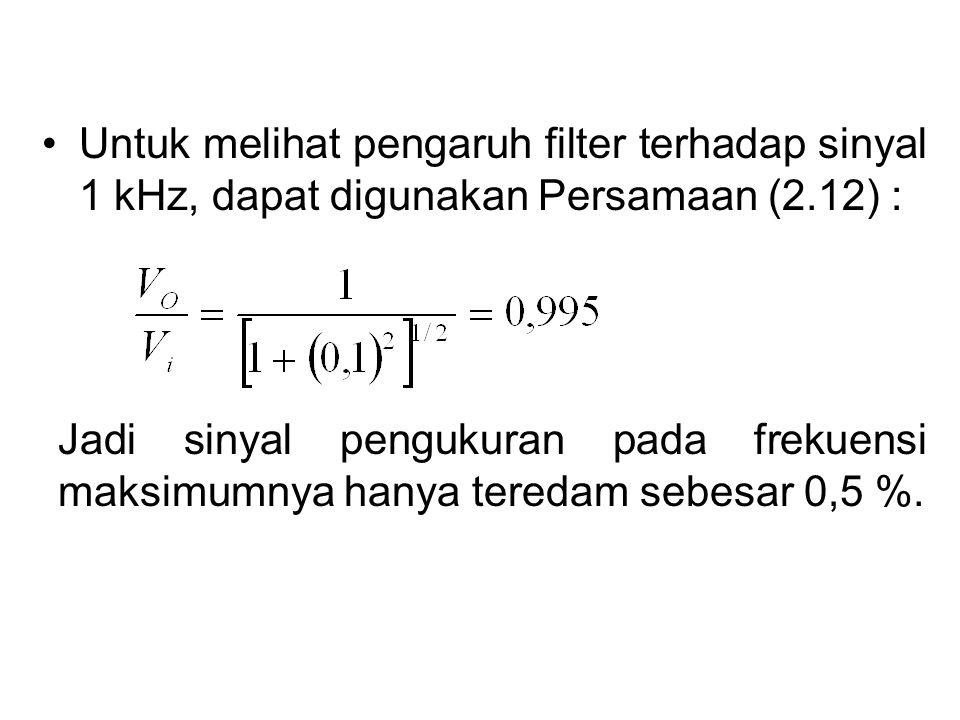 Untuk melihat pengaruh filter terhadap sinyal 1 kHz, dapat digunakan Persamaan (2.12) : Jadi sinyal pengukuran pada frekuensi maksimumnya hanya tereda