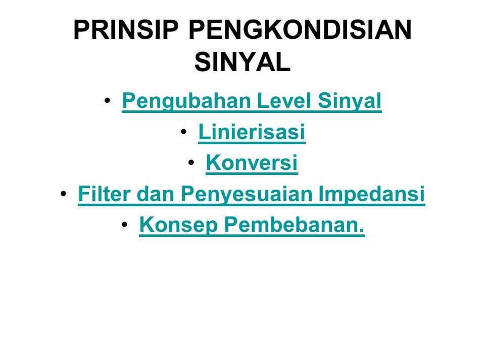 PRINSIP PENGKONDISIAN SINYAL Pengubahan Level Sinyal Linierisasi Konversi Filter dan Penyesuaian ImpedansiFilter dan Penyesuaian Impedansi Konsep Pemb