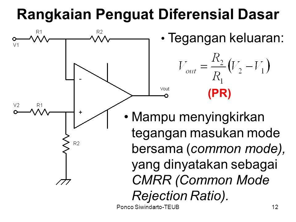 Ponco Siwindarto-TEUB12 Rangkaian Penguat Diferensial Dasar Tegangan keluaran: Mampu menyingkirkan tegangan masukan mode bersama (common mode), yang d