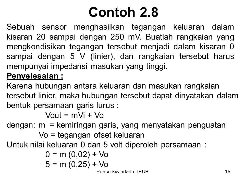 Ponco Siwindarto-TEUB15 Contoh 2.8 Sebuah sensor menghasilkan tegangan keluaran dalam kisaran 20 sampai dengan 250 mV. Buatlah rangkaian yang mengkond