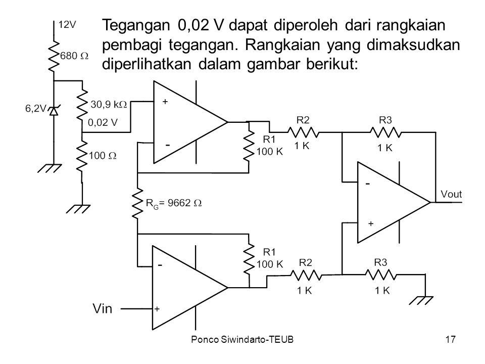 Ponco Siwindarto-TEUB17 Tegangan 0,02 V dapat diperoleh dari rangkaian pembagi tegangan. Rangkaian yang dimaksudkan diperlihatkan dalam gambar berikut
