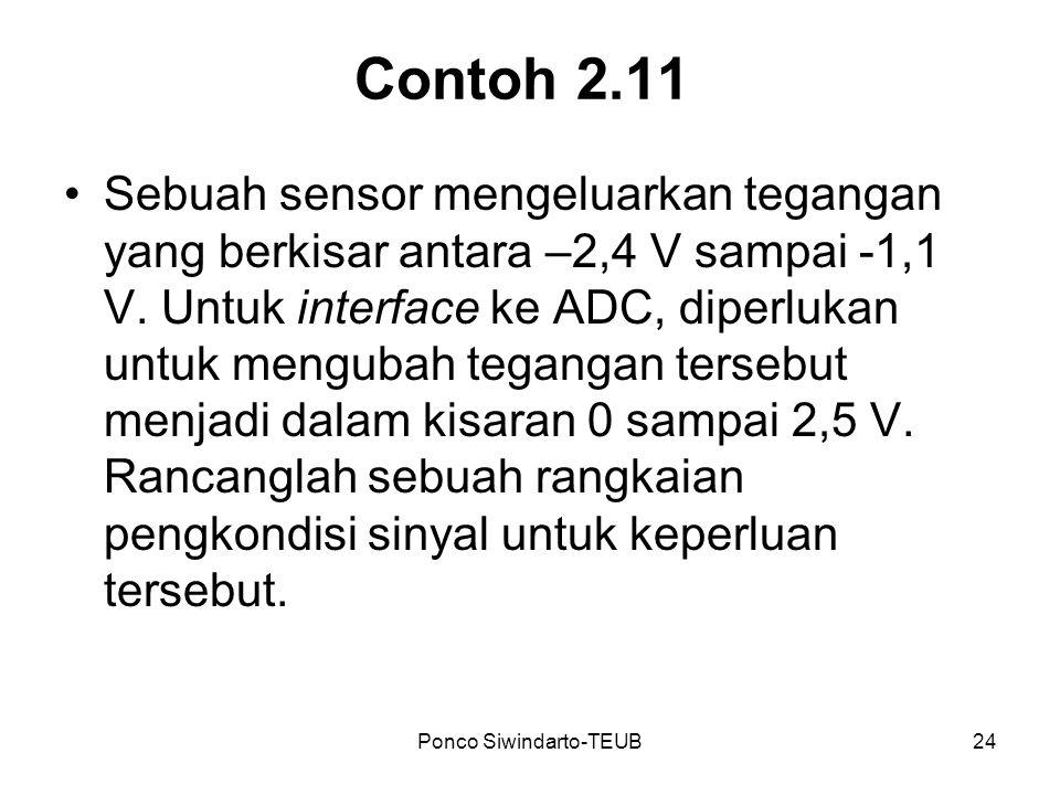 Ponco Siwindarto-TEUB24 Contoh 2.11 Sebuah sensor mengeluarkan tegangan yang berkisar antara –2,4 V sampai -1,1 V. Untuk interface ke ADC, diperlukan