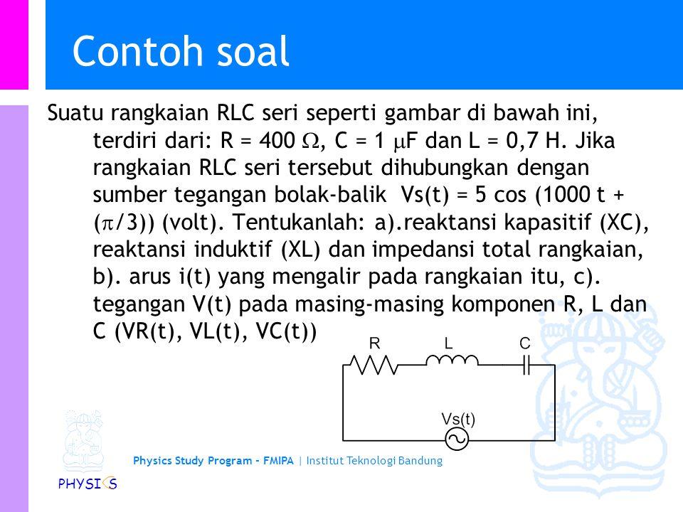 Physics Study Program - FMIPA | Institut Teknologi Bandung PHYSI S Contoh soal Suatu rangkaian RLC seri seperti gambar di bawah ini, terdiri dari: R = 400 , C = 1  F dan L = 0,7 H.