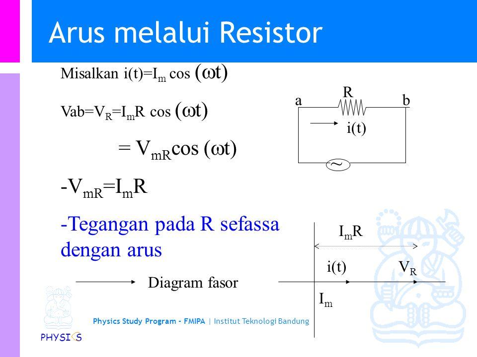 Physics Study Program - FMIPA | Institut Teknologi Bandung PHYSI S Arus melalui Resistor ~ i(t) R Misalkan i(t)=I m cos (  t) Vab=V R =I m R cos (  t) = V mR cos (  t) -V mR =I m R -Tegangan pada R sefassa dengan arus i(t)VRVR ImIm Diagram fasor ab ImRImR