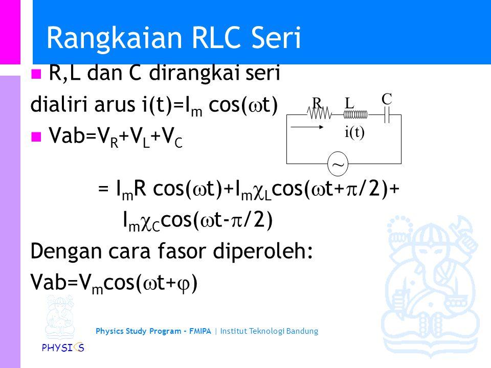 Physics Study Program - FMIPA | Institut Teknologi Bandung PHYSI S Rangkaian RLC Seri R,L dan C dirangkai seri dialiri arus i(t)=I m cos(  t) Vab=V R +V L +V C = I m R cos(  t)+I m  L cos(  t+  /2)+ I m  C cos(  t-  /2) Dengan cara fasor diperoleh: Vab=V m cos(  t+  ) RL C i(t) ~