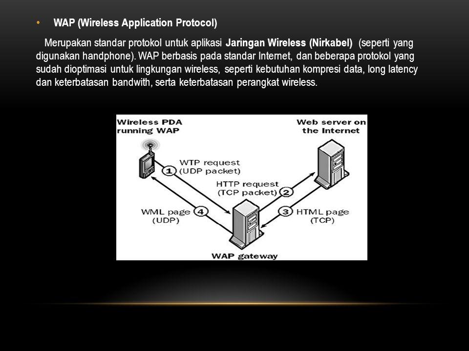 WAP (Wireless Application Protocol) Merupakan standar protokol untuk aplikasi Jaringan Wireless (Nirkabel) (seperti yang digunakan handphone).