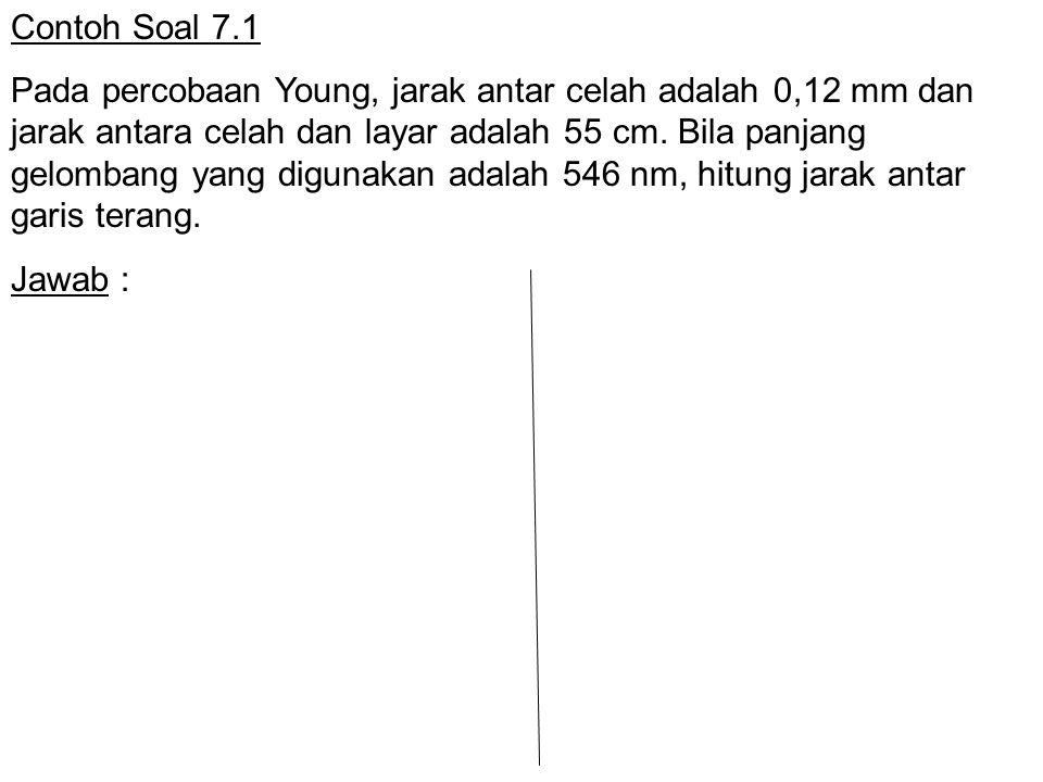 Contoh Soal 7.1 Pada percobaan Young, jarak antar celah adalah 0,12 mm dan jarak antara celah dan layar adalah 55 cm. Bila panjang gelombang yang digu