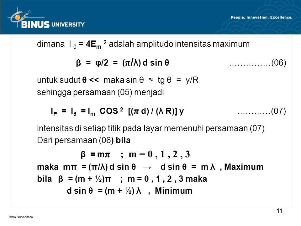 Bina Nusantara dimana I 0 = 4E m 2 adalah amplitudo intensitas maximum β = φ/2 = ( π / λ) d sin θ ……………(06) untuk sudut θ << maka sin θ ≈ tg θ = y/R s