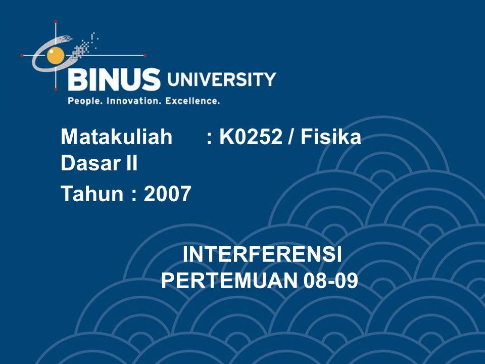 INTERFERENSI PERTEMUAN 08-09 Matakuliah: K0252 / Fisika Dasar II Tahun: 2007