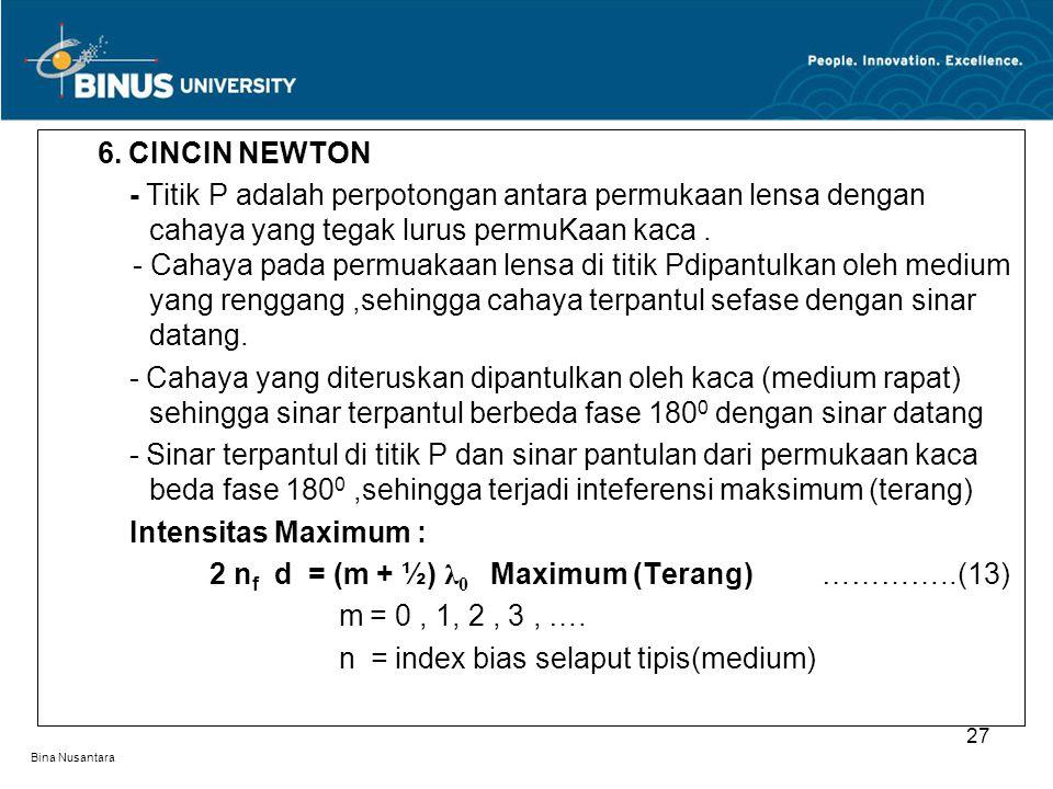 Bina Nusantara 6. CINCIN NEWTON - Titik P adalah perpotongan antara permukaan lensa dengan. cahaya yang tegak lurus permuKaan kaca.. - Cahaya pada per