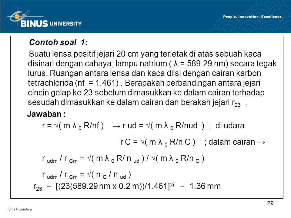 Bina Nusantara Contoh soal 1: Suatu lensa positif jejari 20 cm yang terletak di atas sebuah kaca disinari dengan cahaya; lampu natrium ( λ = 589.29 nm