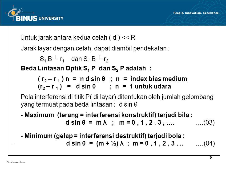 Bina Nusantara 8 Untuk jarak antara kedua celah ( d ) << R Jarak layar dengan celah, dapat diambil pendekatan : S 1 B ┴ r 1 dan S 1 B ┴ r 2 Beda Linta