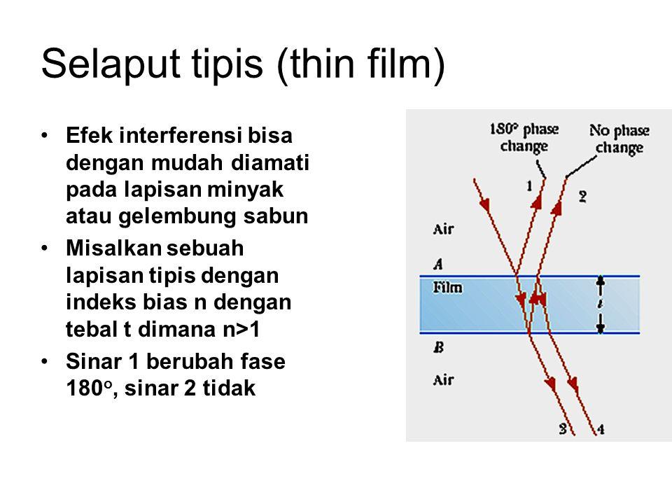 Selaput tipis (thin film) Efek interferensi bisa dengan mudah diamati pada lapisan minyak atau gelembung sabun Misalkan sebuah lapisan tipis dengan in