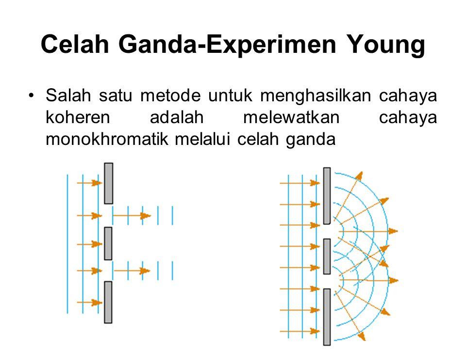 Celah Ganda-Experimen Young Salah satu metode untuk menghasilkan cahaya koheren adalah melewatkan cahaya monokhromatik melalui celah ganda