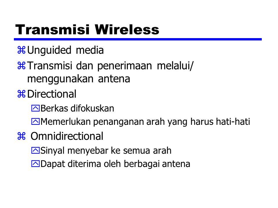 Transmisi Wireless zUnguided media zTransmisi dan penerimaan melalui/ menggunakan antena zDirectional yBerkas difokuskan yMemerlukan penanganan arah y