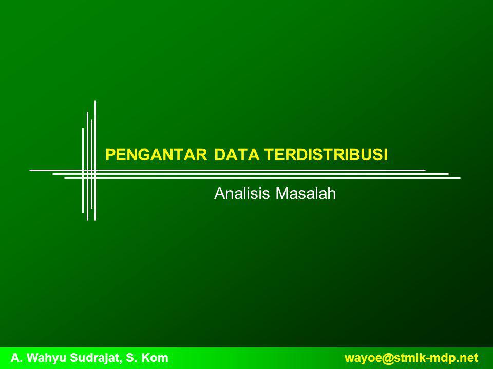 wayoe@stmik-mdp.netA. Wahyu Sudrajat, S. Kom PENGANTAR DATA TERDISTRIBUSI Analisis Masalah