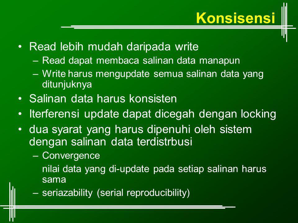 Konsisensi Read lebih mudah daripada write –Read dapat membaca salinan data manapun –Write harus mengupdate semua salinan data yang ditunjuknya Salinan data harus konsisten Iterferensi update dapat dicegah dengan locking dua syarat yang harus dipenuhi oleh sistem dengan salinan data terdistrbusi –Convergence nilai data yang di-update pada setiap salinan harus sama –seriazability (serial reproducibility)