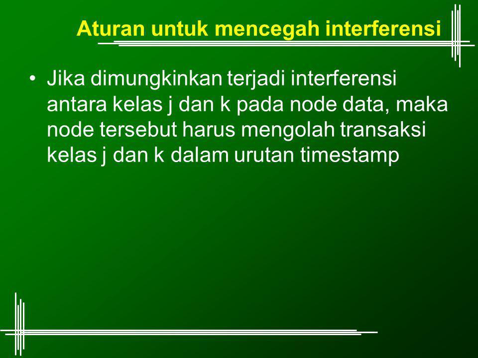 Aturan untuk mencegah interferensi Jika dimungkinkan terjadi interferensi antara kelas j dan k pada node data, maka node tersebut harus mengolah transaksi kelas j dan k dalam urutan timestamp