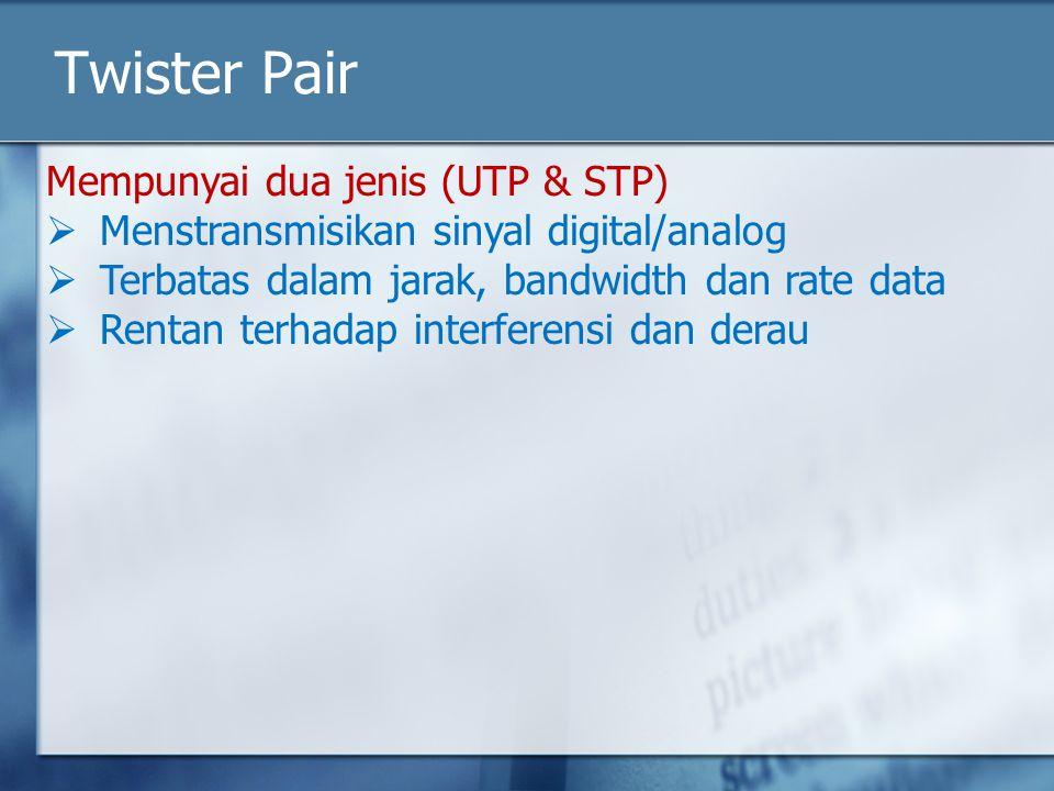 Twister Pair Mempunyai dua jenis (UTP & STP)  Menstransmisikan sinyal digital/analog  Terbatas dalam jarak, bandwidth dan rate data  Rentan terhada