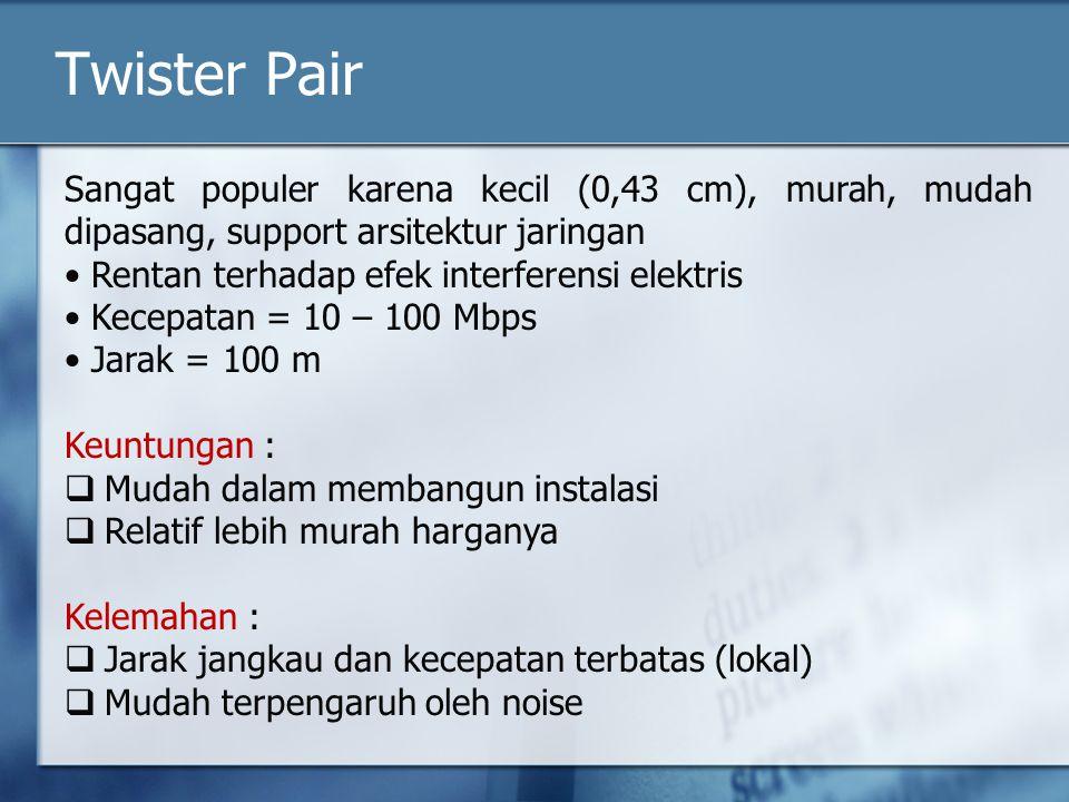 Twister Pair Sangat populer karena kecil (0,43 cm), murah, mudah dipasang, support arsitektur jaringan Rentan terhadap efek interferensi elektris Kece