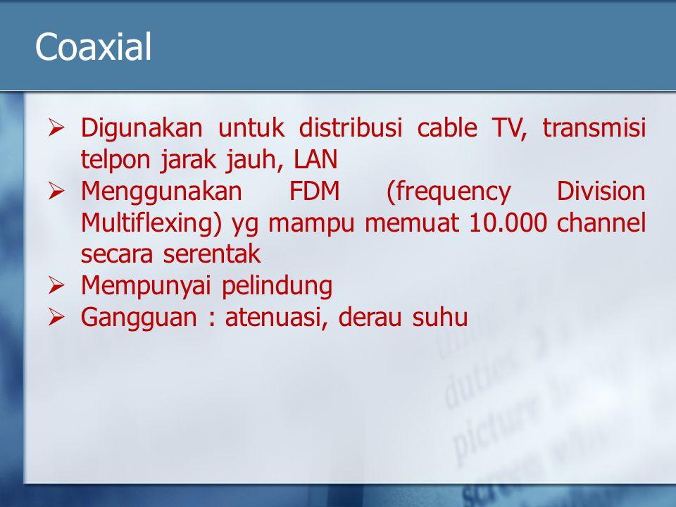 Coaxial  Digunakan untuk distribusi cable TV, transmisi telpon jarak jauh, LAN  Menggunakan FDM (frequency Division Multiflexing) yg mampu memuat 10