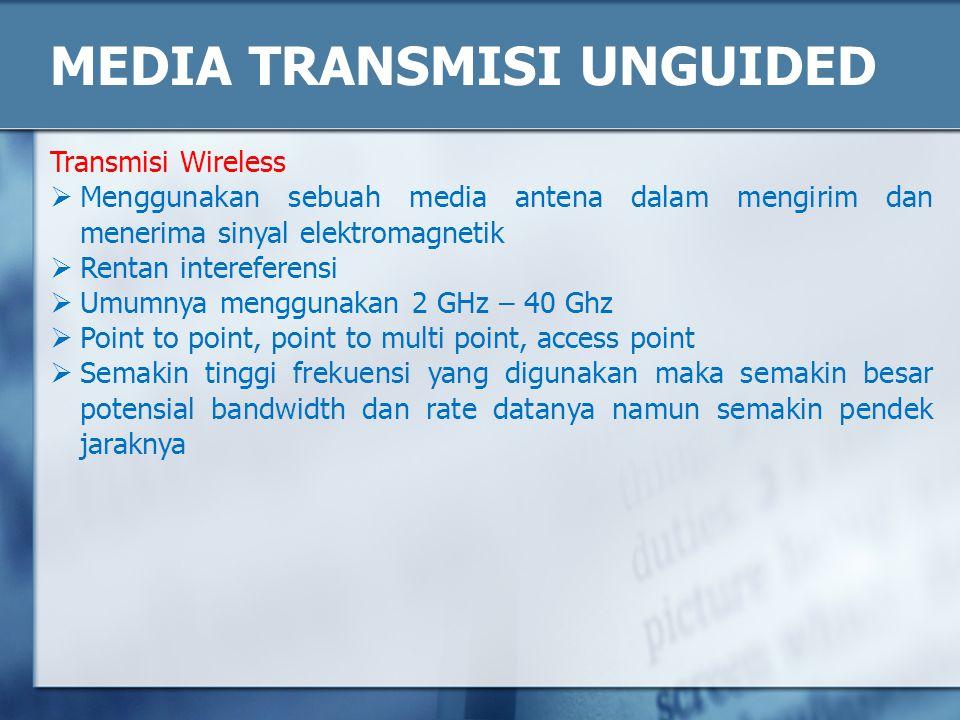 MEDIA TRANSMISI UNGUIDED Transmisi Wireless  Menggunakan sebuah media antena dalam mengirim dan menerima sinyal elektromagnetik  Rentan intereferens