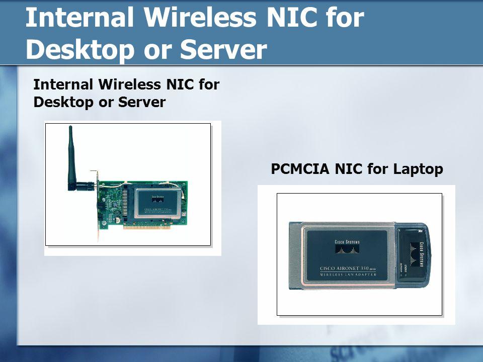 Internal Wireless NIC for Desktop or Server PCMCIA NIC for Laptop Internal Wireless NIC for Desktop or Server