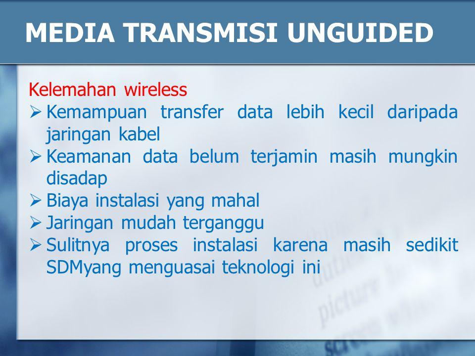 MEDIA TRANSMISI UNGUIDED Kelemahan wireless  Kemampuan transfer data lebih kecil daripada jaringan kabel  Keamanan data belum terjamin masih mungkin