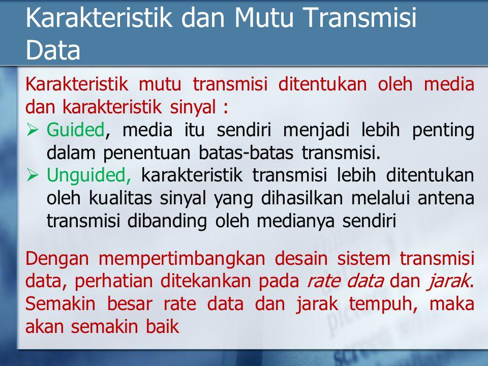 Karakteristik dan Mutu Transmisi Data Karakteristik mutu transmisi ditentukan oleh media dan karakteristik sinyal :  Guided, media itu sendiri menjad