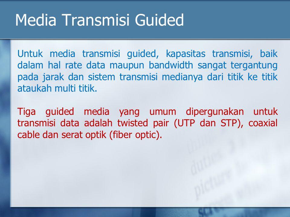 Media Transmisi Guided Untuk media transmisi guided, kapasitas transmisi, baik dalam hal rate data maupun bandwidth sangat tergantung pada jarak dan s