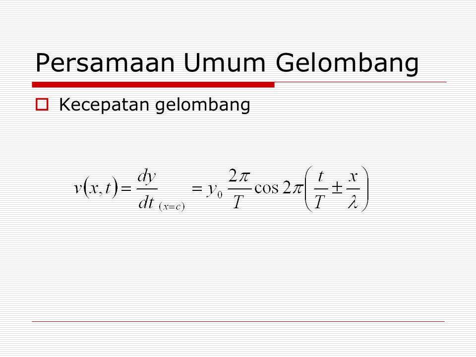 Persamaan Umum Gelombang  Kecepatan gelombang