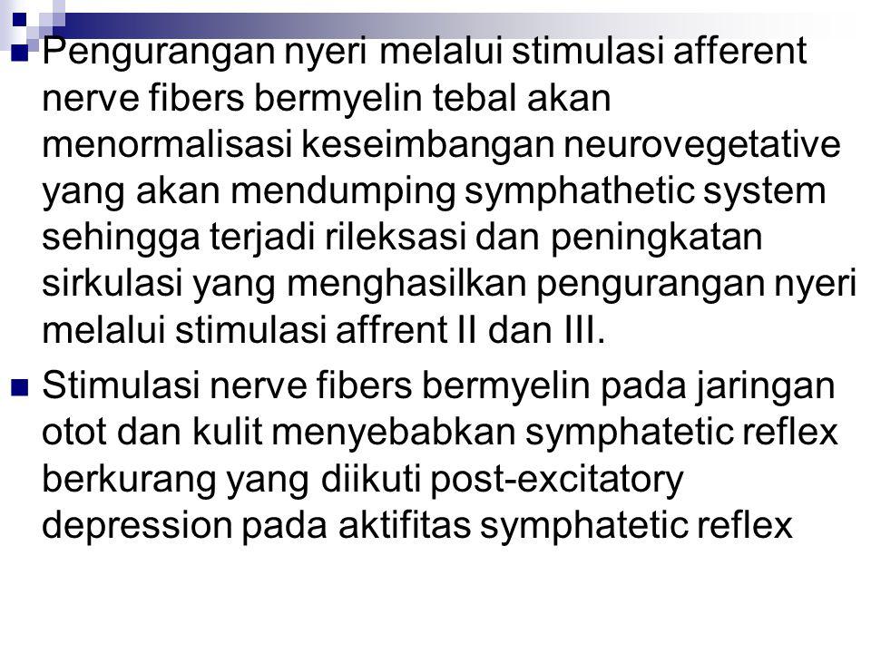 Pengurangan nyeri melalui stimulasi afferent nerve fibers bermyelin tebal akan menormalisasi keseimbangan neurovegetative yang akan mendumping symphathetic system sehingga terjadi rileksasi dan peningkatan sirkulasi yang menghasilkan pengurangan nyeri melalui stimulasi affrent II dan III.