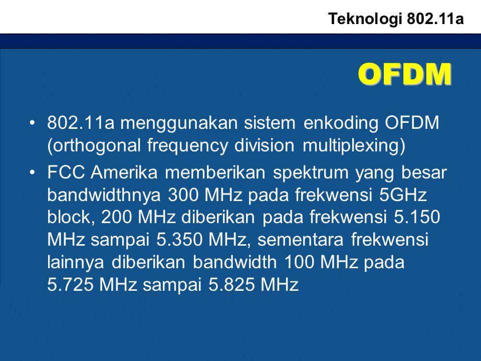 OFDM 802.11a menggunakan sistem enkoding OFDM (orthogonal frequency division multiplexing) FCC Amerika memberikan spektrum yang besar bandwidthnya 300 MHz pada frekwensi 5GHz block, 200 MHz diberikan pada frekwensi 5.150 MHz sampai 5.350 MHz, sementara frekwensi lainnya diberikan bandwidth 100 MHz pada 5.725 MHz sampai 5.825 MHz Teknologi 802.11a