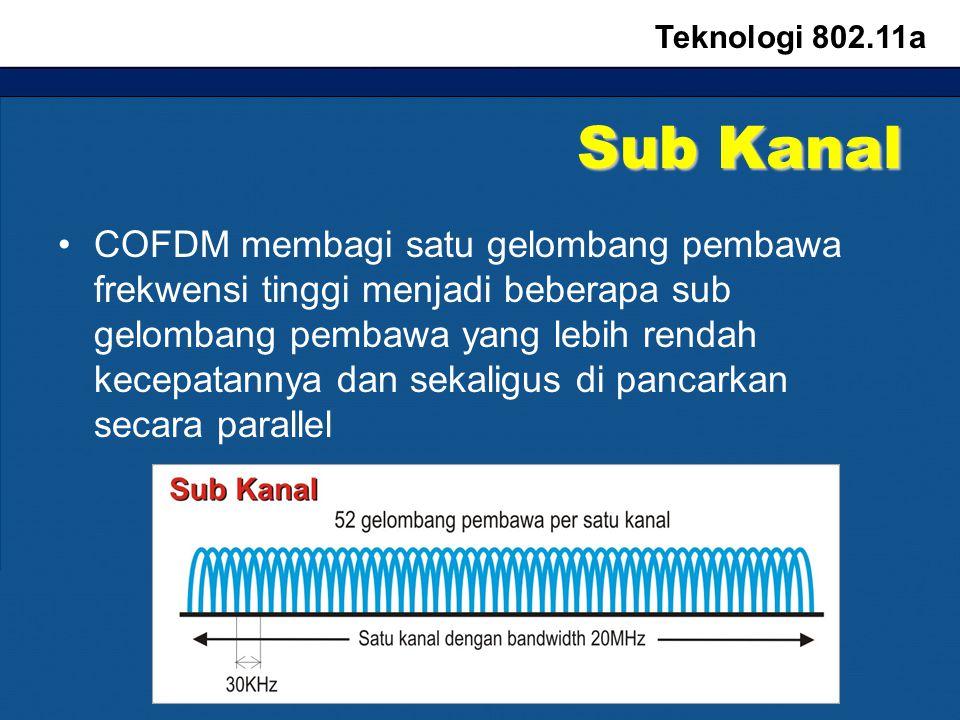 Sub Kanal COFDM membagi satu gelombang pembawa frekwensi tinggi menjadi beberapa sub gelombang pembawa yang lebih rendah kecepatannya dan sekaligus di pancarkan secara parallel Teknologi 802.11a