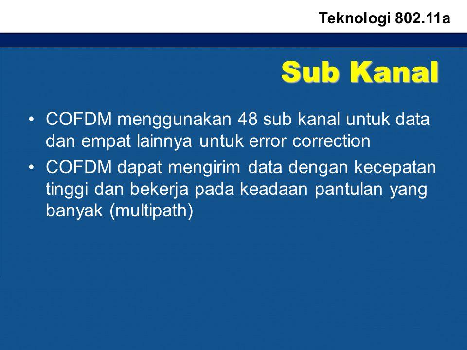 Sub Kanal COFDM menggunakan 48 sub kanal untuk data dan empat lainnya untuk error correction COFDM dapat mengirim data dengan kecepatan tinggi dan bekerja pada keadaan pantulan yang banyak (multipath) Teknologi 802.11a