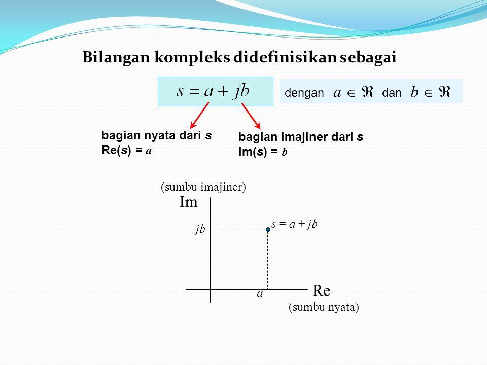 dengan a   dan b   bagian nyata dari s Re(s) = a bagian imajiner dari s Im(s) = b Re (sumbu nyata) Im (sumbu imajiner) a s = a + jb jbjb Bilangan