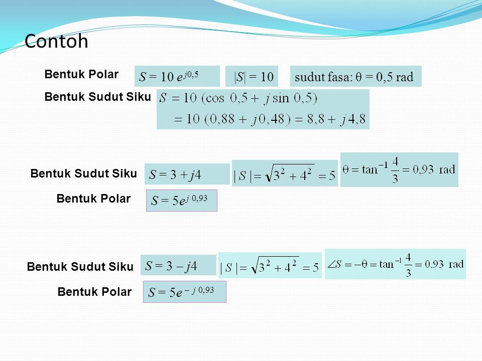 |S| = 10sudut fasa: θ = 0,5 radS = 10 e j0,5 Bentuk Polar Bentuk Sudut Siku S = 3 + j4 Bentuk Sudut Siku S = 5e j 0,93 Bentuk Polar S = 3  j4 Bentuk