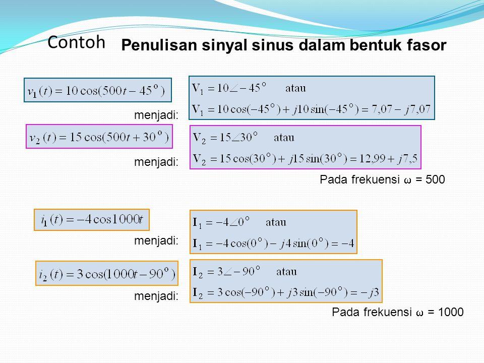 Penulisan sinyal sinus dalam bentuk fasor menjadi: Pada frekuensi  = 500 menjadi: Pada frekuensi  = 1000 Contoh