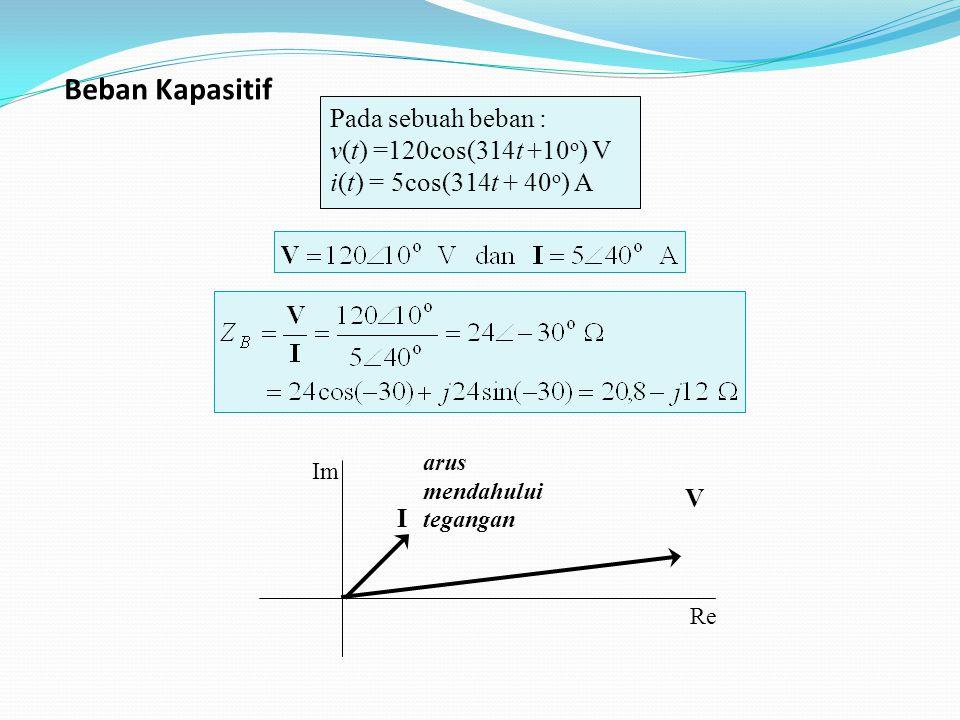 Pada sebuah beban : v(t) =120cos(314t +10 o ) V i(t) = 5cos(314t + 40 o ) A I V Re Im arus mendahului tegangan Beban Kapasitif