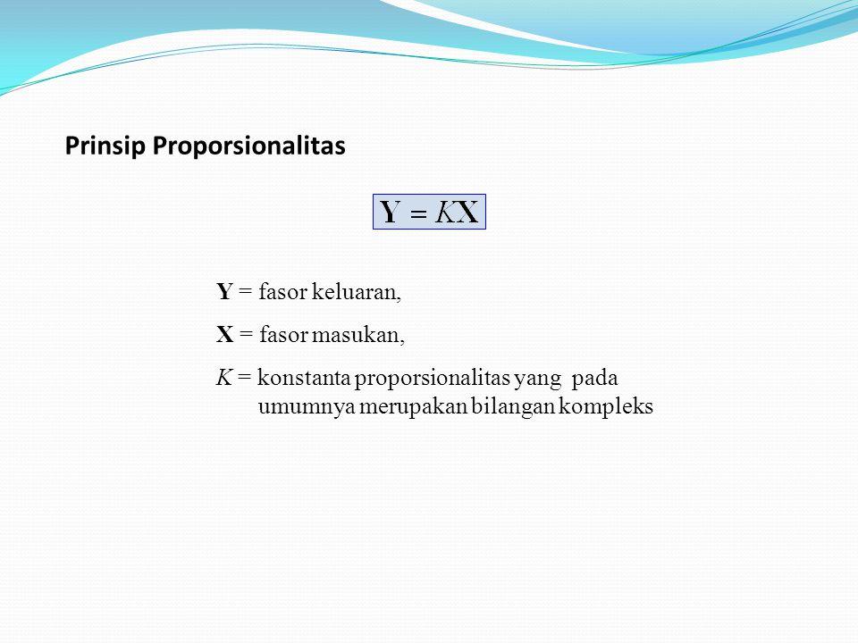 Prinsip Proporsionalitas Y = fasor keluaran, X = fasor masukan, K = konstanta proporsionalitas yang pada umumnya merupakan bilangan kompleks