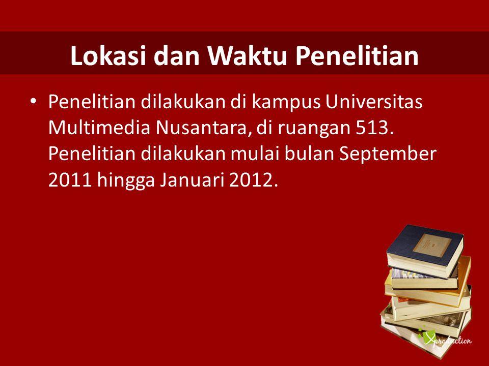 Lokasi dan Waktu Penelitian Penelitian dilakukan di kampus Universitas Multimedia Nusantara, di ruangan 513. Penelitian dilakukan mulai bulan Septembe