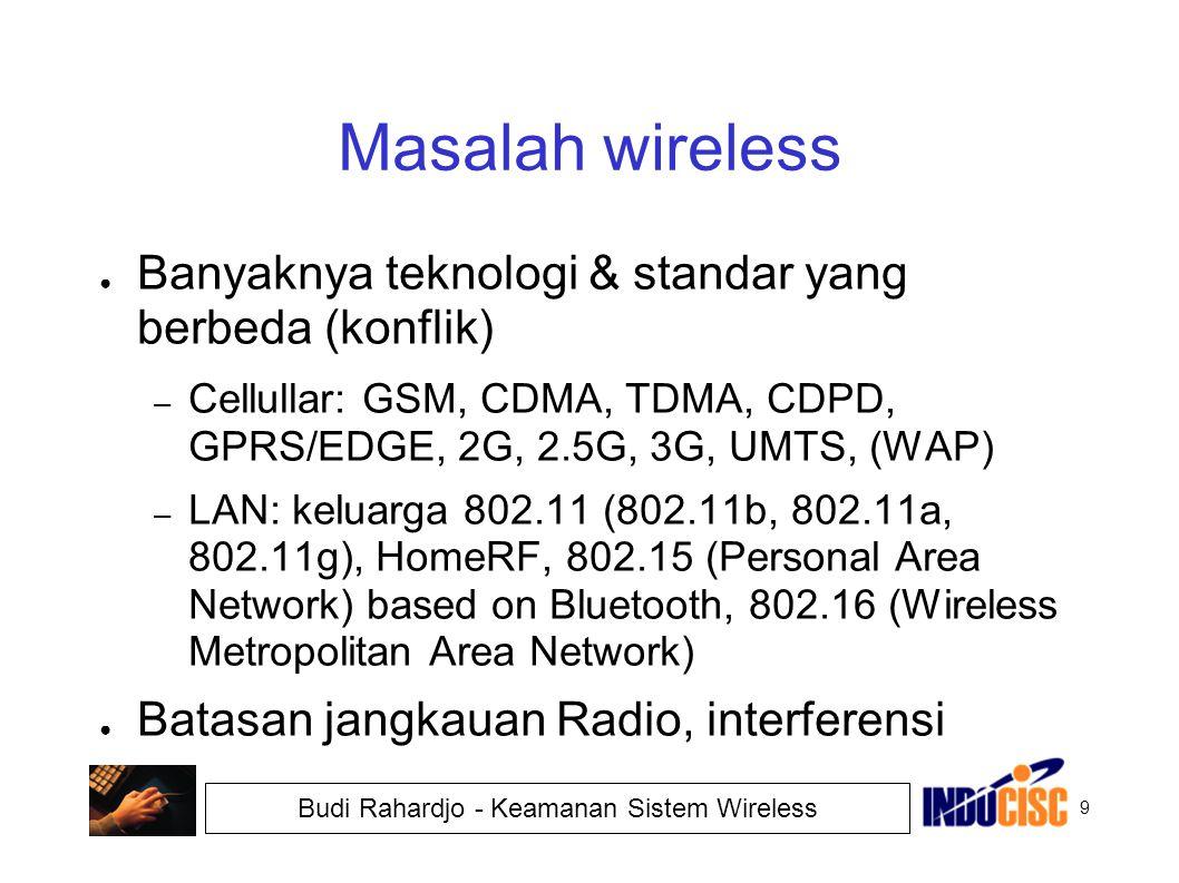 9 Budi Rahardjo - Keamanan Sistem Wireless Masalah wireless ● Banyaknya teknologi & standar yang berbeda (konflik) – Cellullar: GSM, CDMA, TDMA, CDPD,
