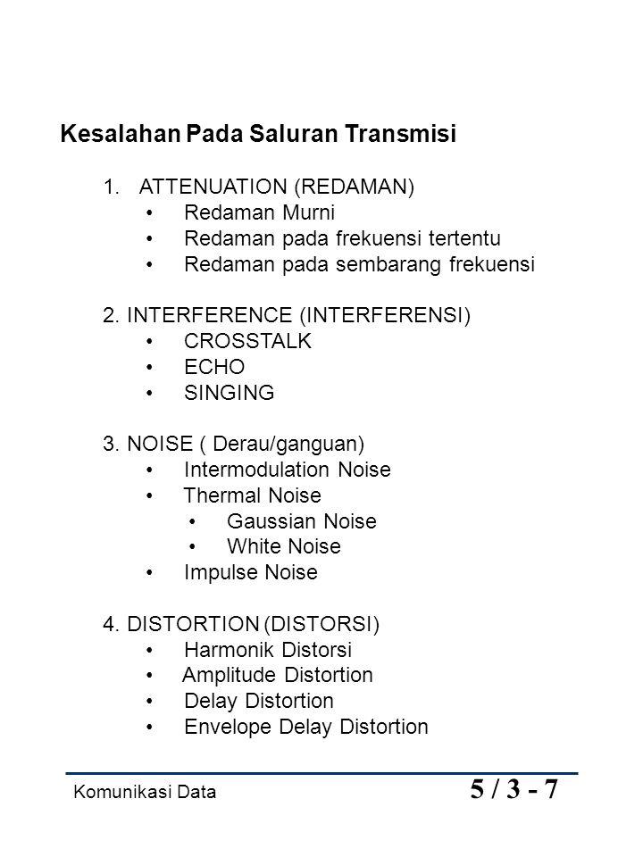 Komunikasi Data 5 / 3 - 7 Kesalahan Pada Saluran Transmisi 1. ATTENUATION (REDAMAN) Redaman Murni Redaman pada frekuensi tertentu Redaman pada sembara
