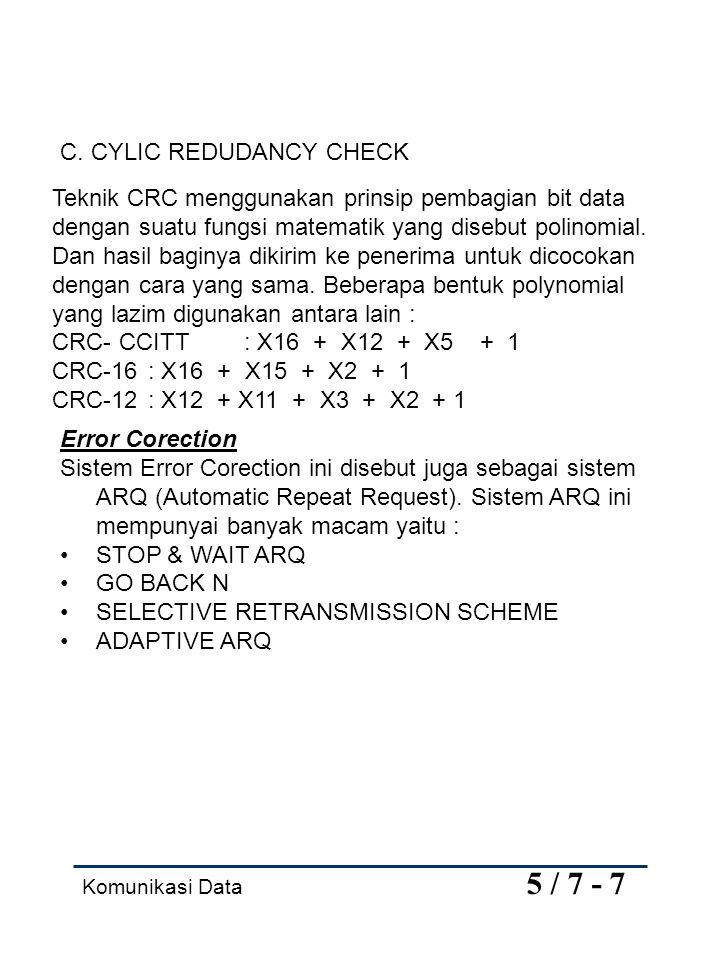Komunikasi Data 5 / 7 - 7 Teknik CRC menggunakan prinsip pembagian bit data dengan suatu fungsi matematik yang disebut polinomial. Dan hasil baginya d