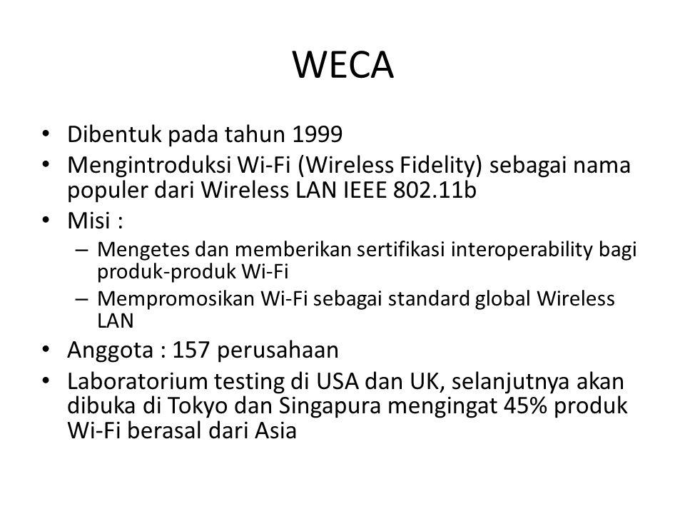 WECA Dibentuk pada tahun 1999 Mengintroduksi Wi-Fi (Wireless Fidelity) sebagai nama populer dari Wireless LAN IEEE 802.11b Misi : – Mengetes dan membe