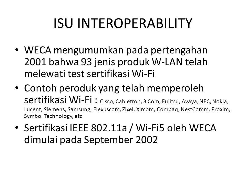 ISU INTEROPERABILITY WECA mengumumkan pada pertengahan 2001 bahwa 93 jenis produk W-LAN telah melewati test sertifikasi Wi-Fi Contoh peroduk yang tela