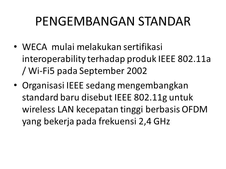 PENGEMBANGAN STANDAR WECA mulai melakukan sertifikasi interoperability terhadap produk IEEE 802.11a / Wi-Fi5 pada September 2002 Organisasi IEEE sedan
