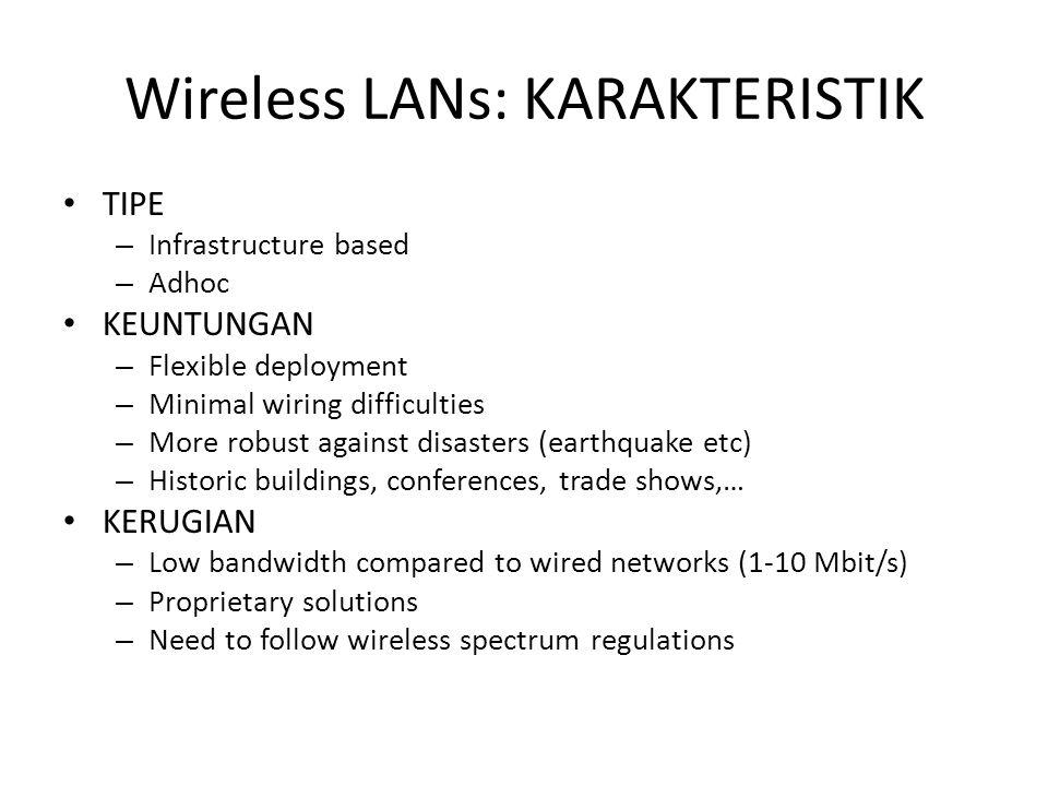 KERUGIAN WLAN – Low bandwidth dibanding dengan jaringan kabel – Frekuensi bebas – Isu keamanan – Harga awal lebih mahal